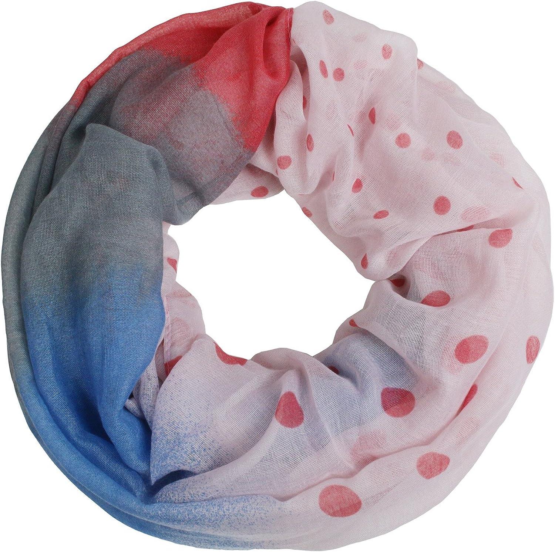 Glamexx24 XXL Punkte Print Loop Schal warme und weiche Schlauchschal Farbverlauf Tuch Damen