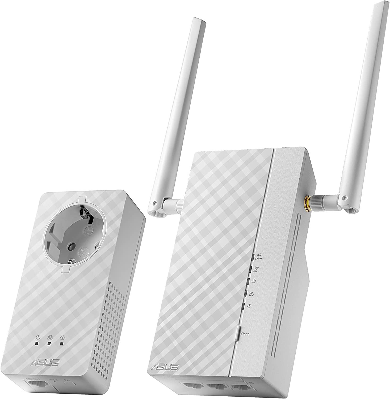 ASUS PL-AC56 - Kit Extensor de Red por línea eléctrica AV2 1200Mbps Gigabit (Wi-Fi AC1200, 3 Puertos Gigabit, Antenas externas)