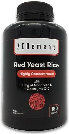 Levadura Roja de Arroz concentrada con 10 mg de Monacolina K y Coenzima Q10, 180 Cápsulas | Controla los niveles de colesterol sanguíneo | 100% ...
