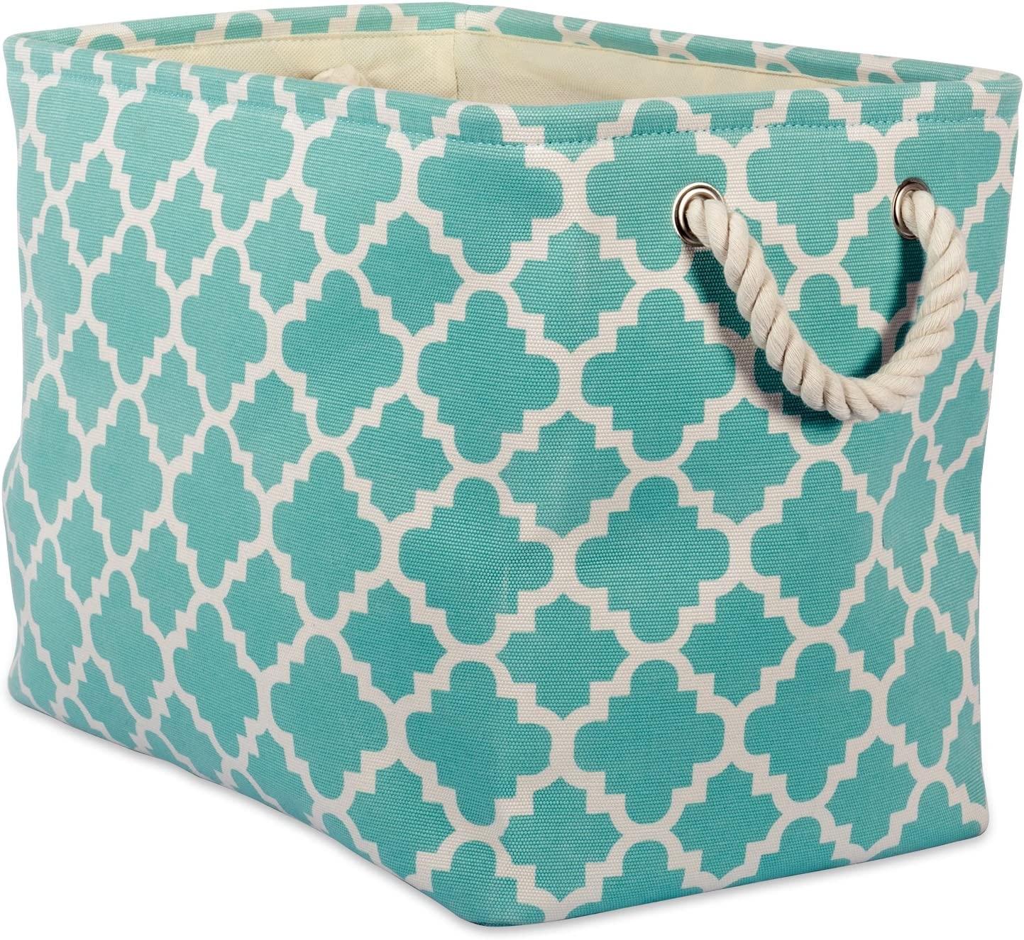 DII Printed Polyester Storage Bin  -Medium Rectangle, Aqua Lattice