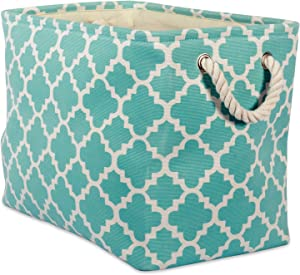DII Printed Polyester, Collapsible and Convenient Storage Bin to Organize Office, Bedroom, Closet, Kid's Toys, Laundry  -Large Rectangle, Aqua Lattice