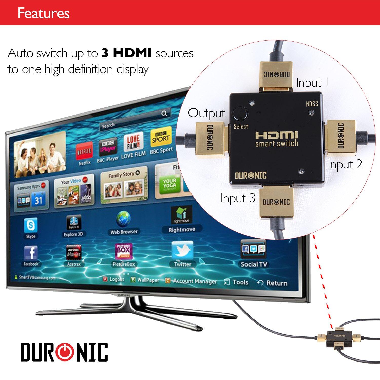 Hrs1031 Duronic /3/x 1/hub 3/Ports HDMI Auto Switch Box Plus T/él/écommande/ entr/ée 3/Voies 1/Sortie Full HD 1080p Switcher