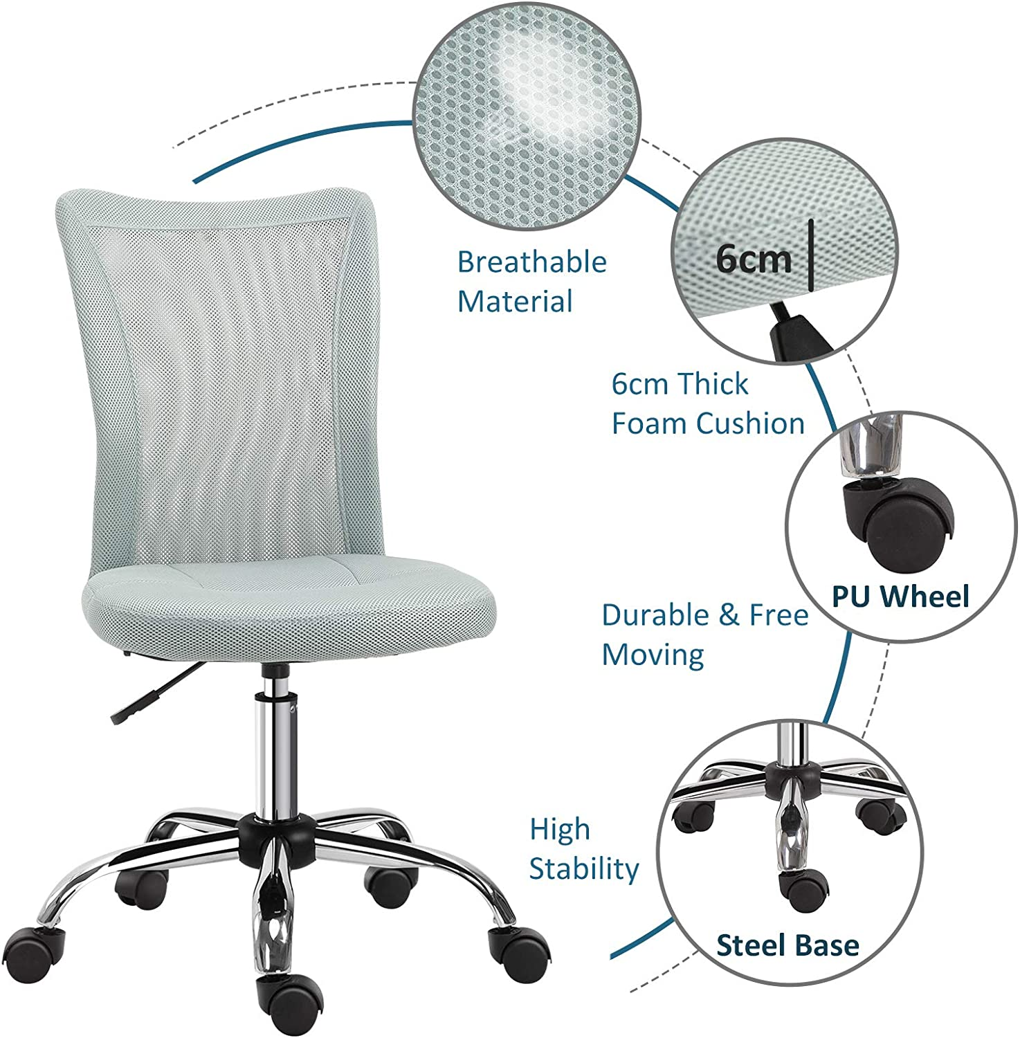 Desk Chairs Home Kitchen Vinsetto Armless Office Chair Ergonomic Padded Height Adjustable W Mesh Back 5 Wheel Base Swivel Comfortable Moveable Home Seat Work Black