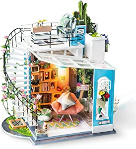 Rolife Dollhouse DIY Miniature Room Set-Wood Craft Construction Kit-Wooden Model Building Toys-Mini Doll House-Creative Birthday Gifts for Boys Girls Women and Friends (Spiral Stairs)