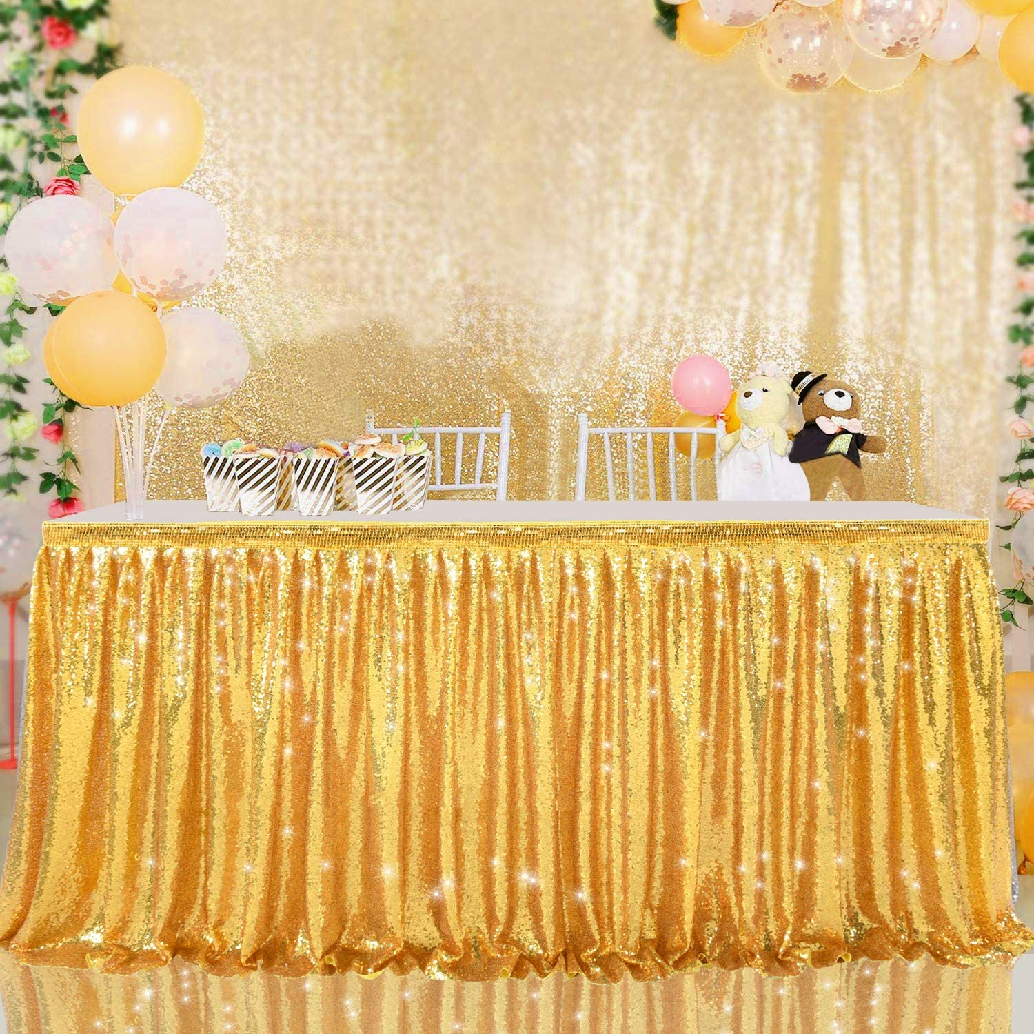 H 30in, Gold Suppromo 6ft Gold Sequin Table Skirts for Rectangle Tables Sequin Tablecloth for Wedding Birthday Party Baby Shower Cake Dessert Banquet Event Table Cloth Decorations L6 ft