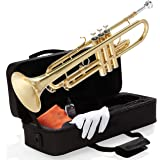 Mendini By Cecilio Bb Trumpet - Brass, Gold Trumpets w/Instrument Case, Cloth, Oil, Gloves - Musical Instruments For Beginner