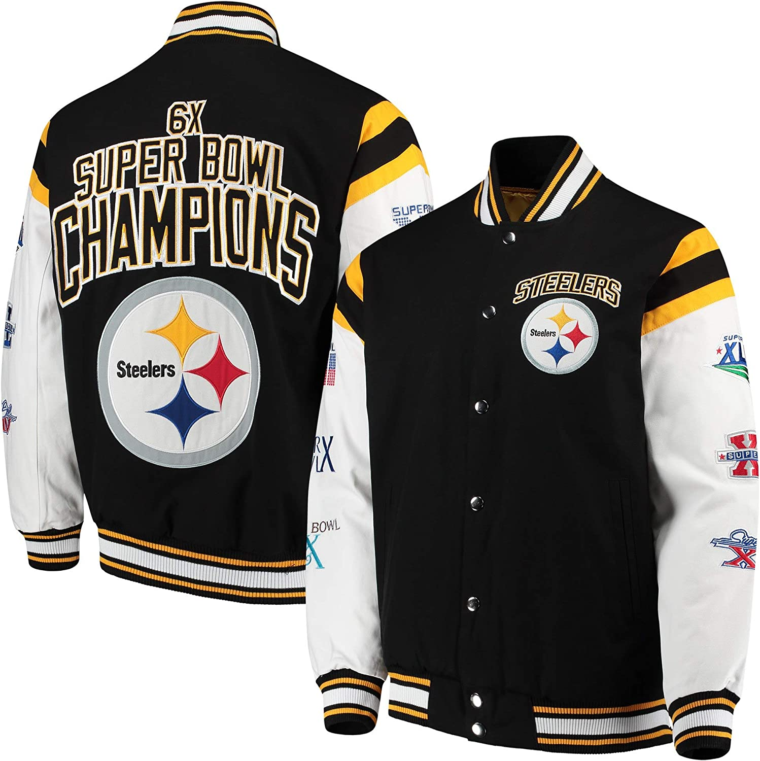 Pittsburgh Steelers 6 Time Super Bowl Champions Home Team Varsity Commemorative Jacket Large