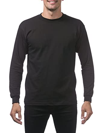 692b5857620e Pro Club Men's Heavyweight Cotton Long Sleeve Crew Neck T-Shirt, Small,  Black