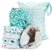 Simple Being Reusable Cloth Diapers,6 Pack Pocket Adjustable Size,Waterproof Cover,6 Inserts,Wet Bag, Double Gusset One…