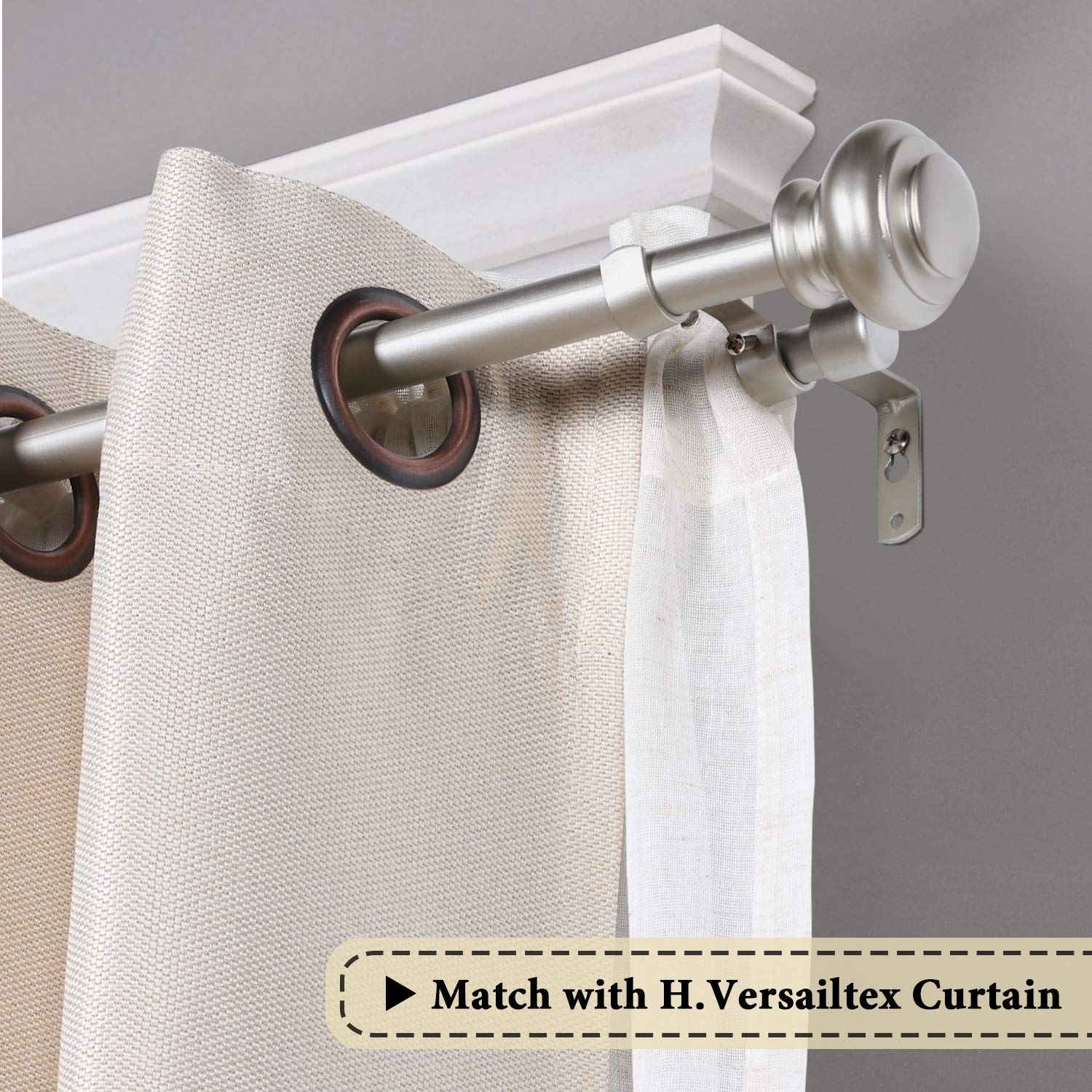 Black with Antique Bronze Finish 3//4 Inch Diameter H.VERSAILTEX Window Treatment Double Rod Set with Urn Finials Adjustable Length from 28 to 48-Inch