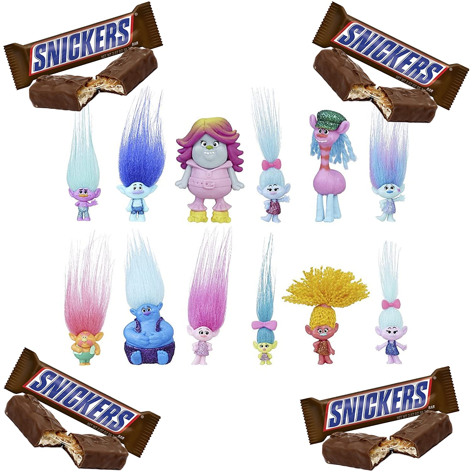 Trolls DreamWorks Toys Surprise Mini Figure Series 6 with Snickers Chocolate Candy Bars Singles Size 4 Bars Snickers Snack 1.86-Ounce Bars Includes 2 Random Blind Bags of Series 6 Mini Toys