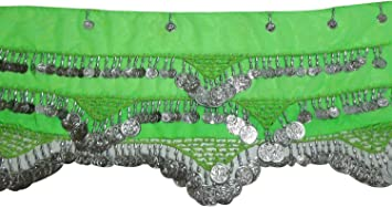 Egyptian Professional  Belly Dance Costume Handmade Hip Scarf Belt Coins 414