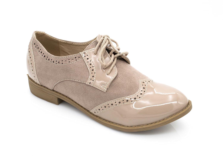 Fashion Shoes Derbies Femmes en Lacet Bi-Maitère - Chaussures Dames Talon Bloc Bas – Richelieu Vernis Et Daim Dentelle – Chic Tendance