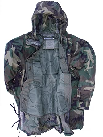 98edbb7c28a79 US Military ORC Woodland Camo Rainsuit RAIN JACKET Parka Coat + LINER XL X -Large