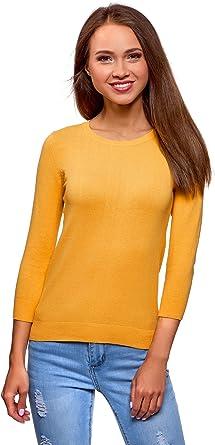 oodji Ultra Mujer Jersey B/ásico con Cuello Redondo