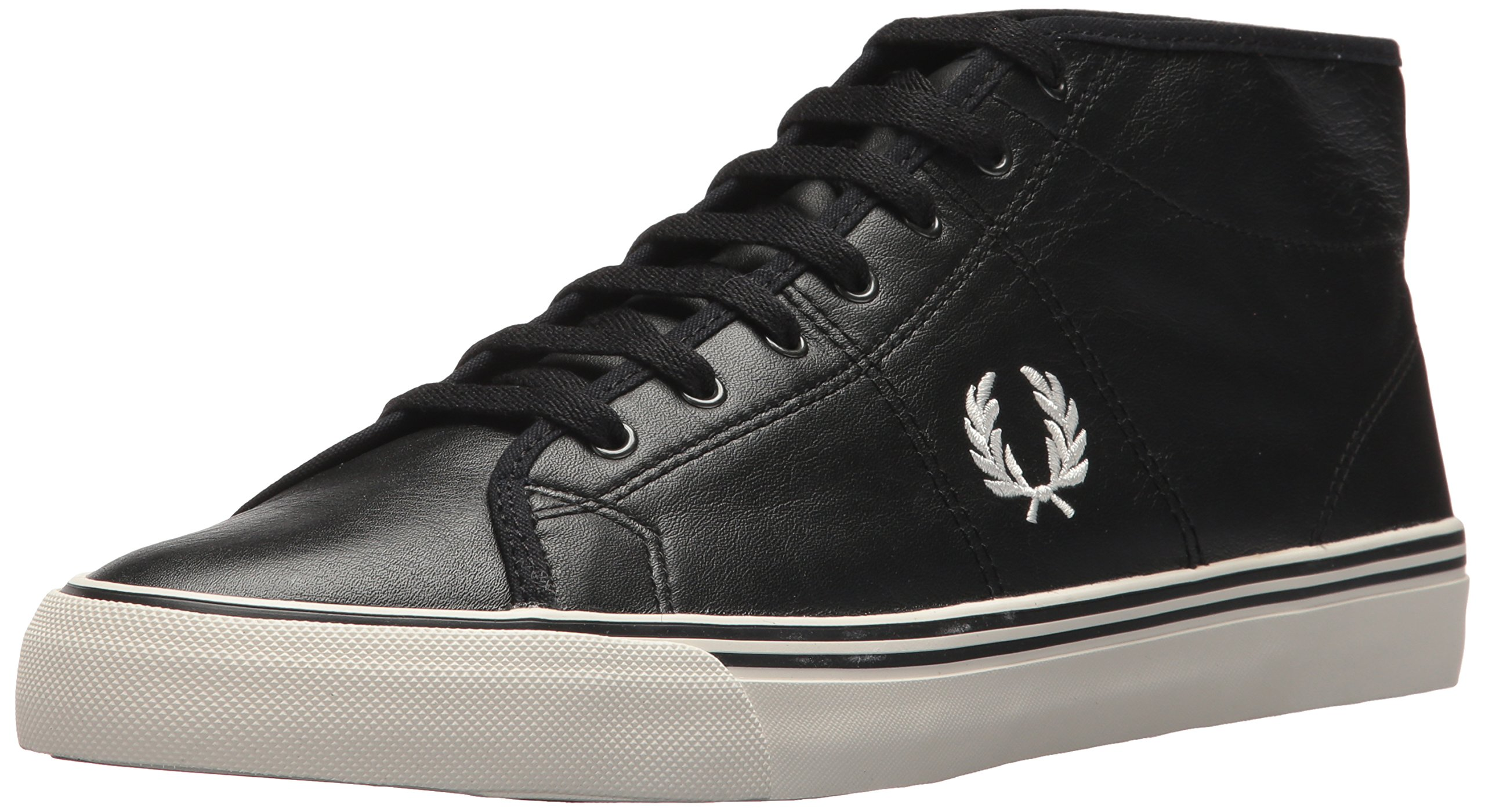 Fred Perry haydon Mid Leather Sneaker, Black, 8 D UK (9 US)