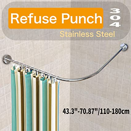Curved Tension Shower Curtain Rod.Amazon Com Begleri Tension Shower Curtain Rods Adjustable