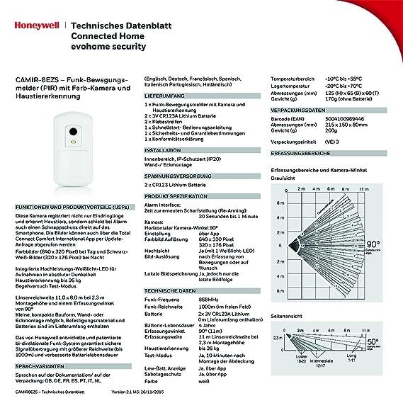 Honeywell Camir-8Ezs Evohome Security - Detector de Movimiento inalámbrico con cámara de fotografías a Color y Sensor térmico (Accesorios Disponibles), ...
