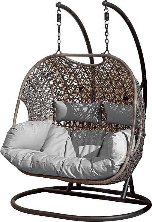 Suntime Brampton Rattan Wicker Outdoor Hanging Cocoon Egg Swing Chair With Grey Cushions Double Amazon Co Uk Garden Outdoors