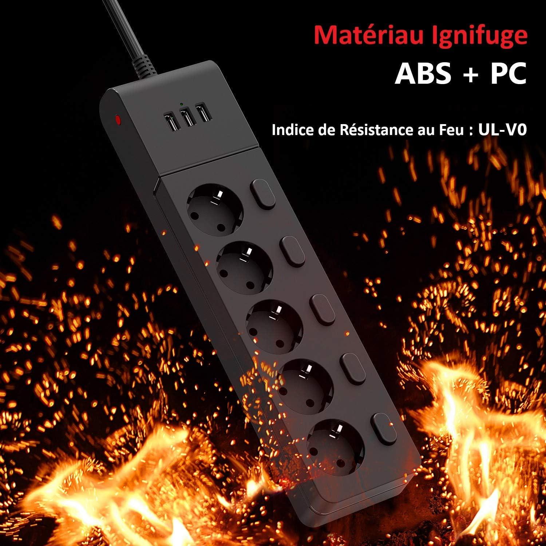 MiiKARE Multiprise Parasurtenseur avec 5 Prises Interrupteur Individuel 3 USB Ports Multiprises Parafoudre Protection Contre Surcharges et Surtensions et Cordon de 2M Noir