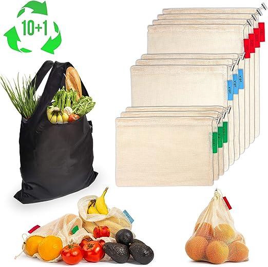 bolsos lavables reciclables del almacenamiento del bolso org/ánico del algod/ón que hacen compras Bolsos reutilizables de la fruta y verdura