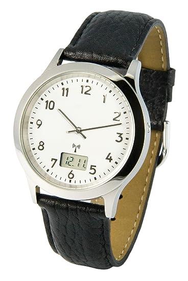 Reloj para hombre Marqués, tecnología de radiofrecuencia alemana, correa de piel negra, caja