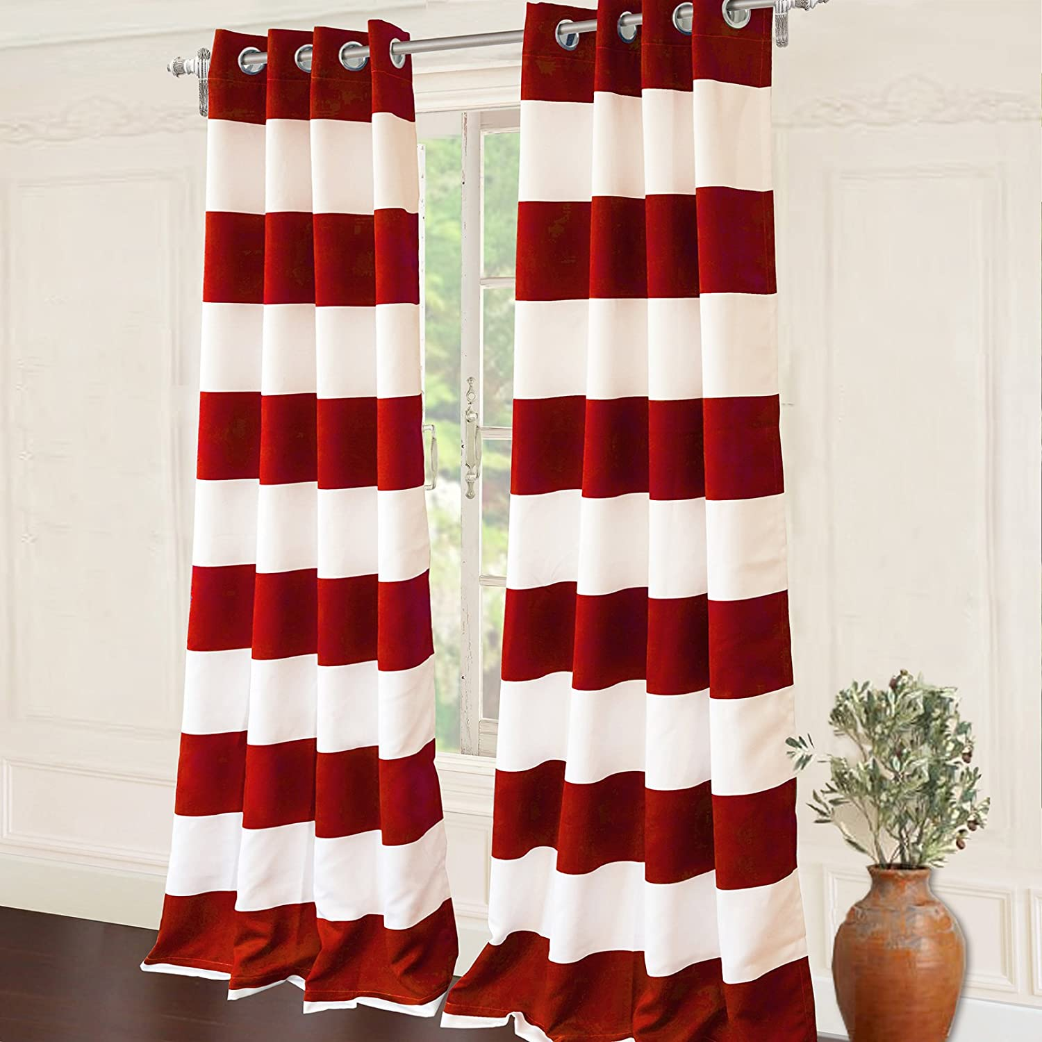 DriftAway Mia Stripe Room Darkening Grommet Unlined Window Curtains Red