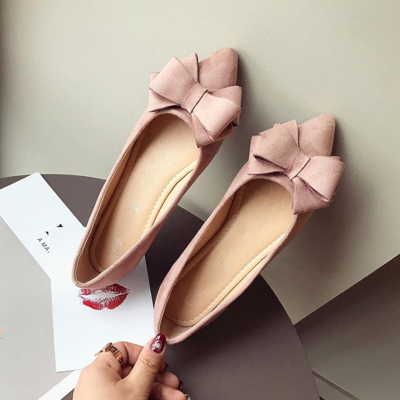 GTVERNH Frühling Damenschuhe Sind Süß Bogen Flannelette Hingewiesen Flache Schuhe Komfortable Weichen Boden Einzelne Schuhe.