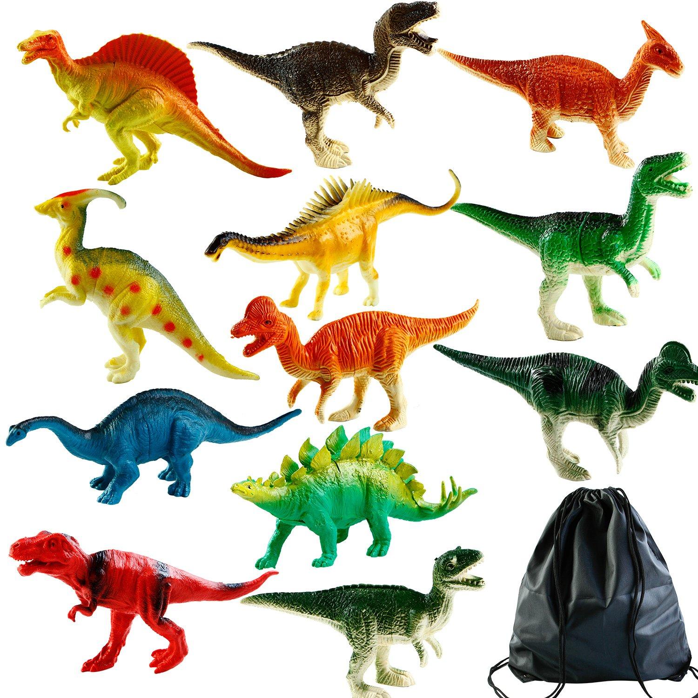 Aneco 12 Stücke Groß Realistisch Erscheinung Dinosaurier Kinder Spielzeuge Plastik Unterschiedlich Figuren mit Spielzeuge Lagerung Tasche, 7 Zoll, Mehrfache Muster