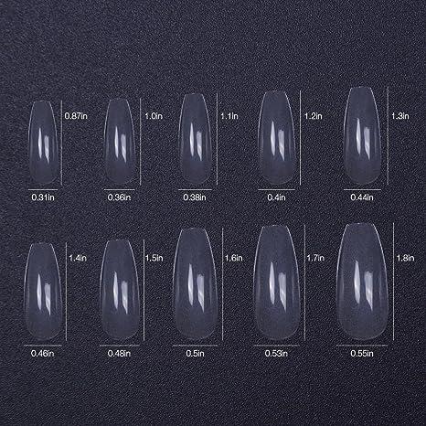 Amazon.com : 500pcs 10 size False Nails Clear Coffin Transparent Fake Nails Full Coverage Long Square : Beauty