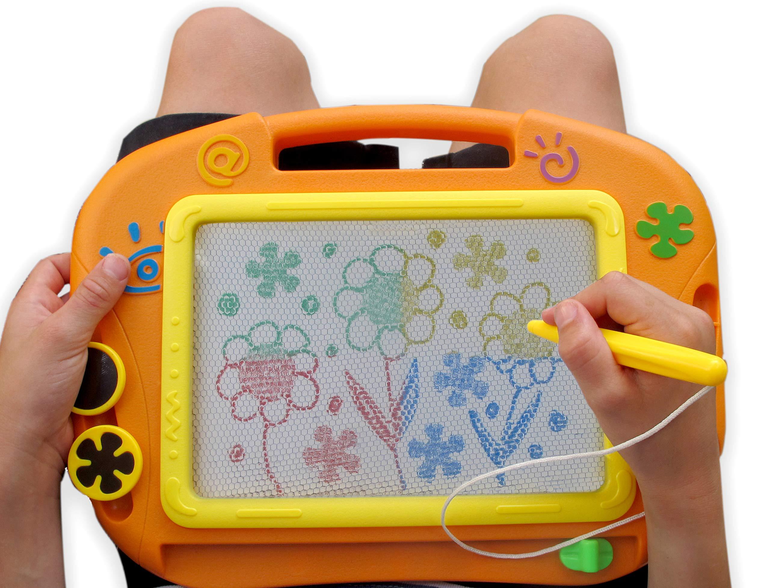 Gabe & Ko Erasable Magnetic Orange Drawing Board Pen Two Magnetic Stampers - Travel Size Boys Girls