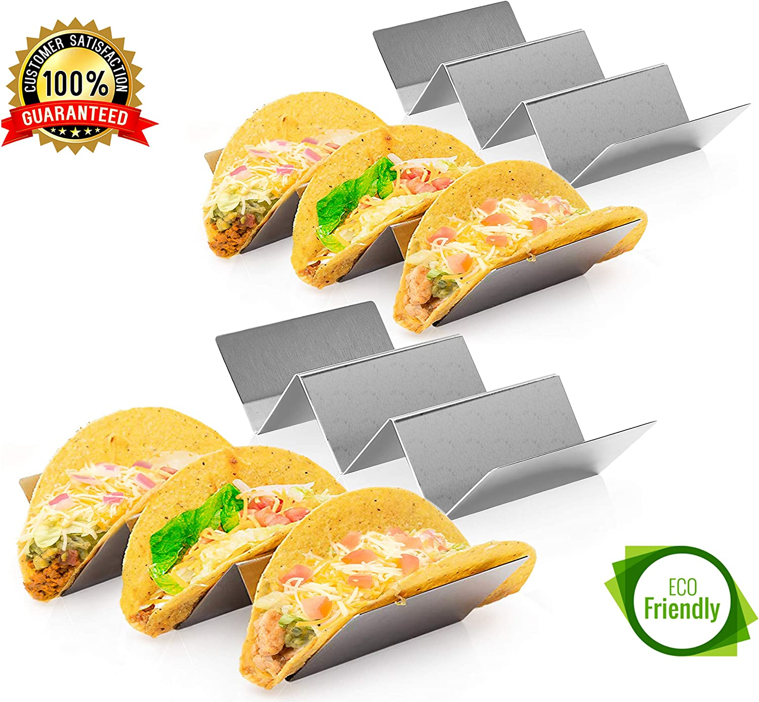 "4 Pack Stainless Steel Taco Holder Tray, Taco Truck Stand Holds Up To 3 Tacos Each as Plates, Use as a Shell Baking Rack - Safe for Dishwasher, Oven, and Grill, Holders Size 8"" x 4"" x 2"""