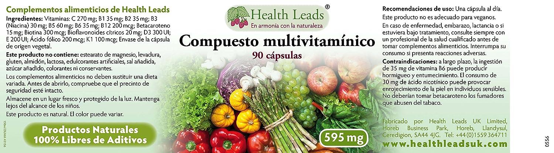 Compuesto multivitamínico 595 mg x 90 cápsulas: Amazon.es: Salud y cuidado personal