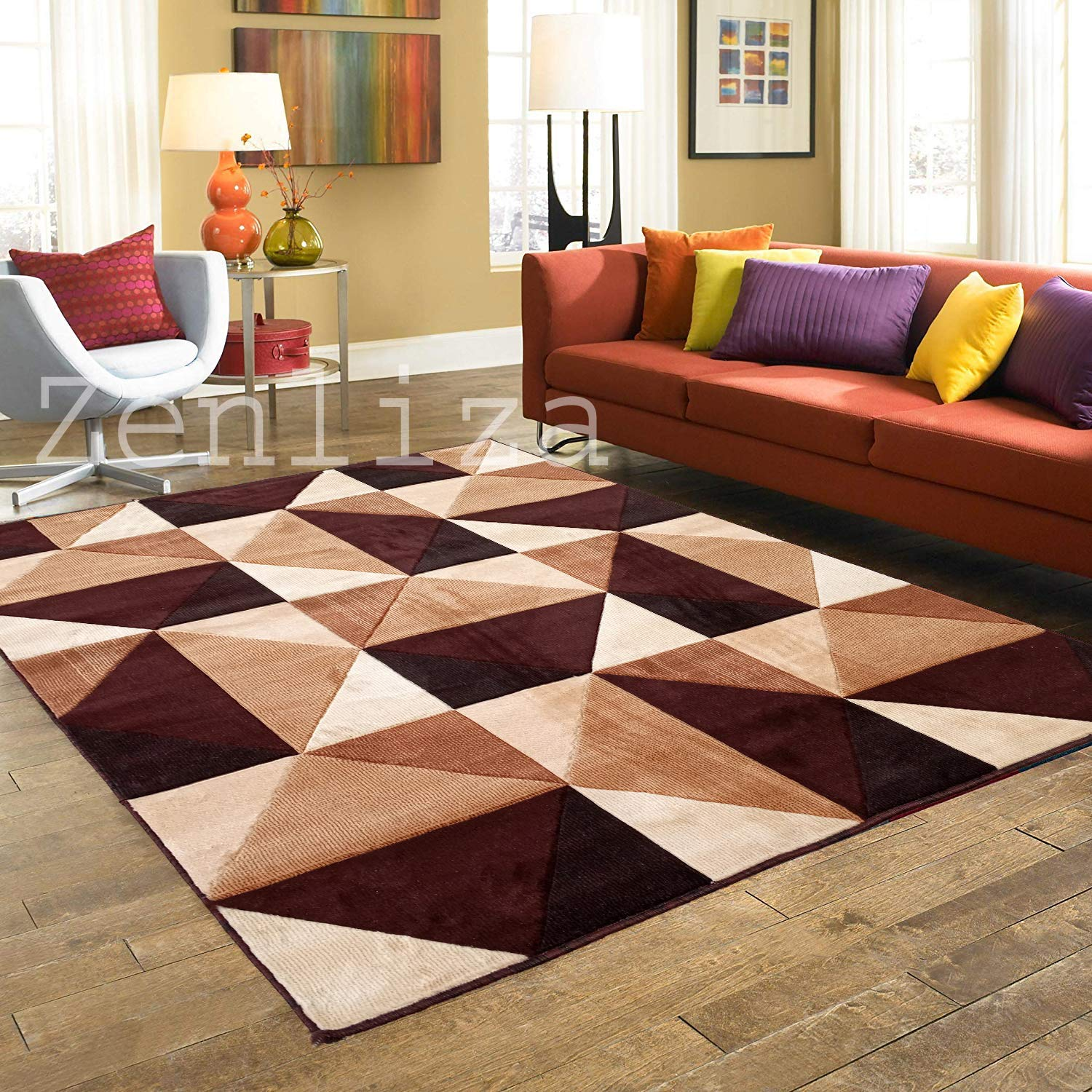 Buy Zenliza Modern Carpet For Living Room Brown Polyester 6 X 8 Feet Online At Low Prices In India Amazon In