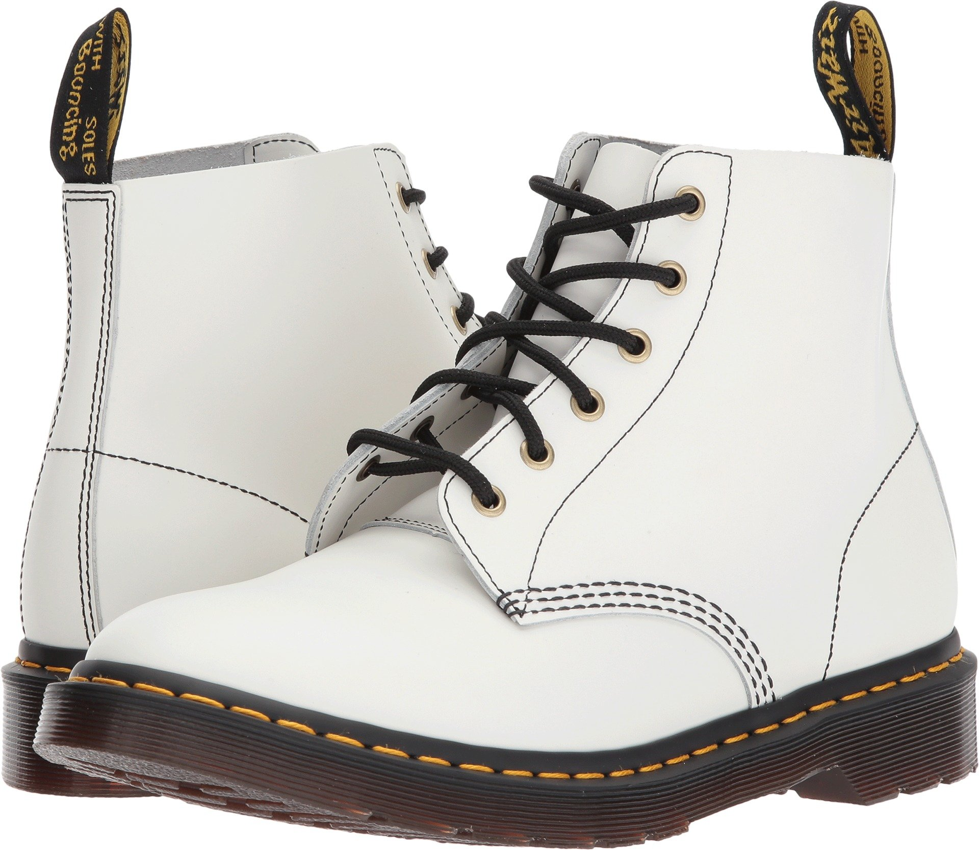 Dr. Martens Men's 101 Arc Smooth 6-Eye Boots, White, 10 M UK, 11 M US by Dr. Martens