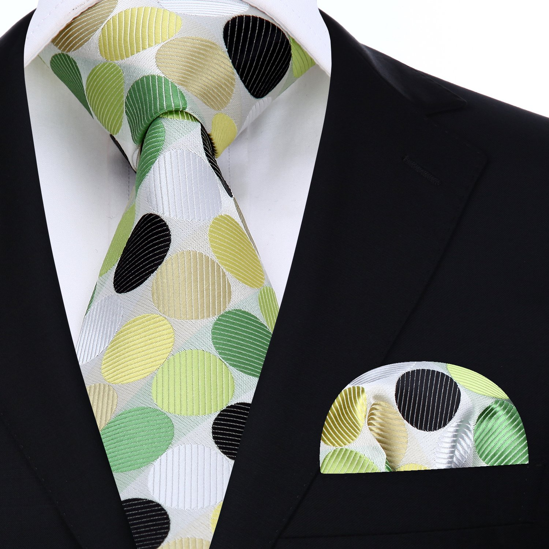 BIYINI Mens Tie Polka Dot Necktie and Pocket Square Handkerchief Set for Wedding Party