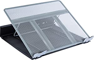 """Lorell Mesh/Wire Notebook Stand, 3.5"""" x 13"""" x 11"""", Silver,Black"""