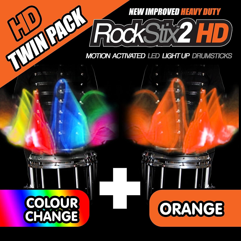 Lot de 2/ 1 Pair GREEN /RockStix 2/HD /à LED Baguettes de batterie 1 Pair COLOUR CHANGE