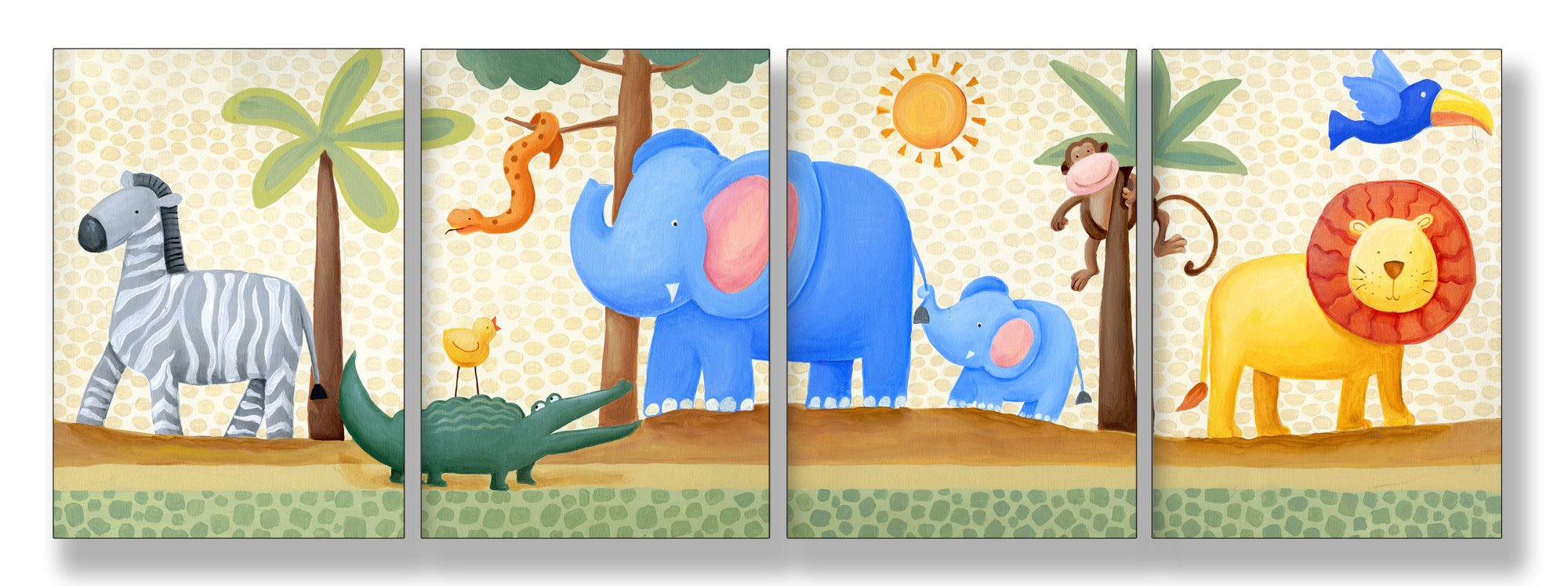 The Kids Room by Stupell Zebra, Crocodile, Elephant, Lion In The Jungle 4-Pc. Rectangle Wall Plaque Set, 11 x 0.5 x 17, Proudly Made in USA