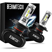 BEAMTECH H4 LED Bulb, 50W 6500K 8000Lumens Extremely Brigh (9003 Hi/Lo) CSP Chips Conversion Kit Fanless All In One Plug…