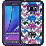 Note 5 Case, SGM (TM) Dual Layer Protection High Impact Hybrid Armor Case For Samsung Galaxy Note 5 (Screen Protector NOT Included) (Purple (Elephants))