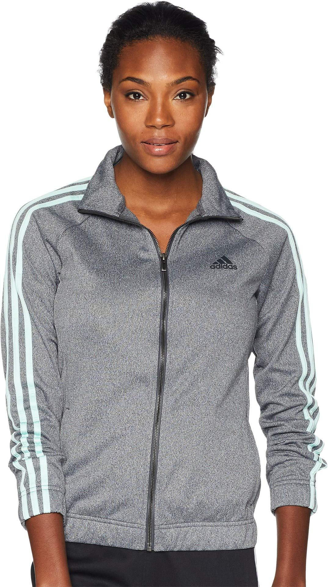 adidas Women's Designed-2-Move Track Jacket, Dark Grey/Clear Mint, Medium