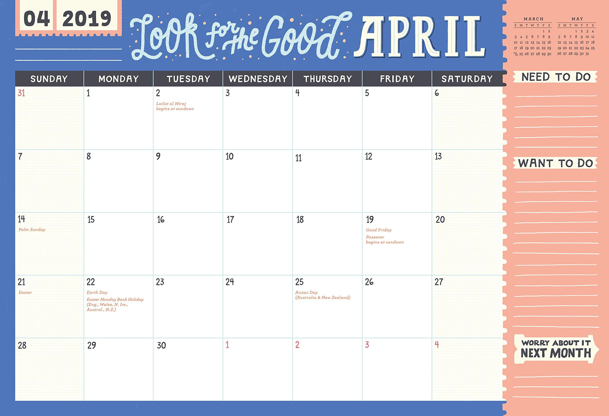 2019 Work it! 17 Month Desk Jotter Wall Calendar: Amazon.es ...