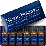 NEXON BOTANICS Essential Oil Blends Set - Best Diffuser Oils Blend - Pure, Natural Therapeutic Blended Sets for Aromatherapy - Breathe Ease, Health Plus, Muscle Ease, Zen Sleep Head, Immune 6 x 10ml