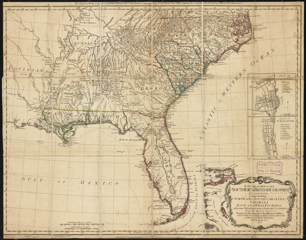 Historic Map | 1776 A general map of the southern British colonies in America comprehending North and South Carolina, Georgia, East and West Florida | Antique Vintage Reproduction