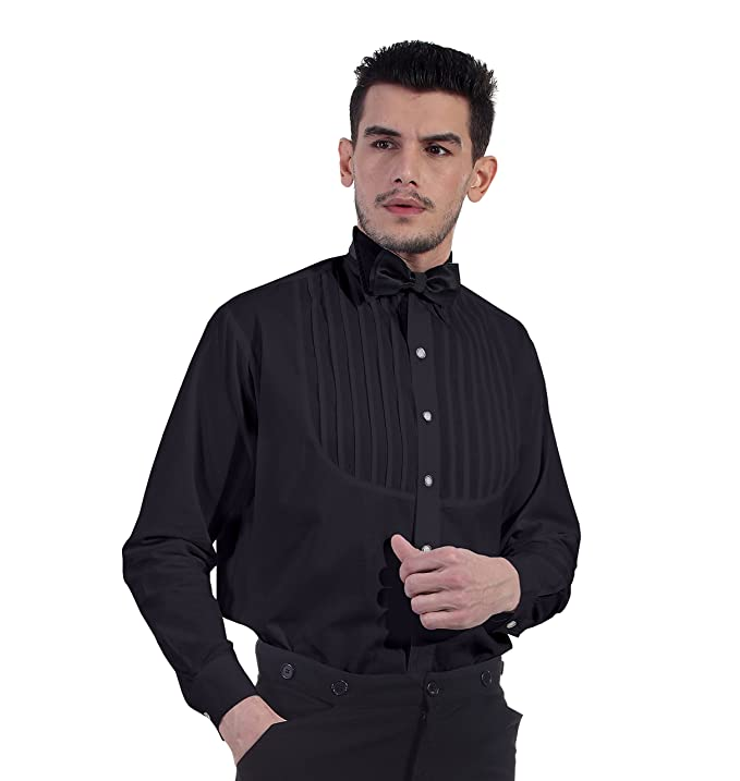 Men's Steampunk Clothing, Costumes, Fashion ThePirateDressing Steampunk Victorian Cosplay Costume 100% Cotton Classic Mens Shirt C1289  AT vintagedancer.com