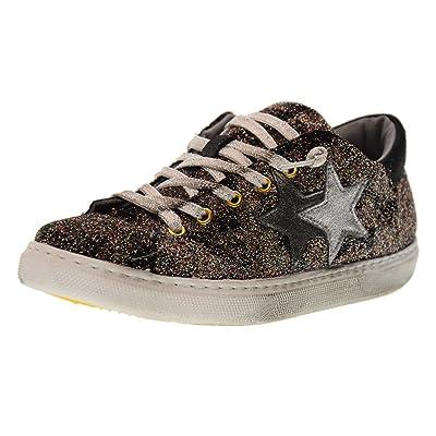 2 STAR zapatillas de deporte bajas zapatos de mujer 2 DE BRILLO 1655 BRONCE