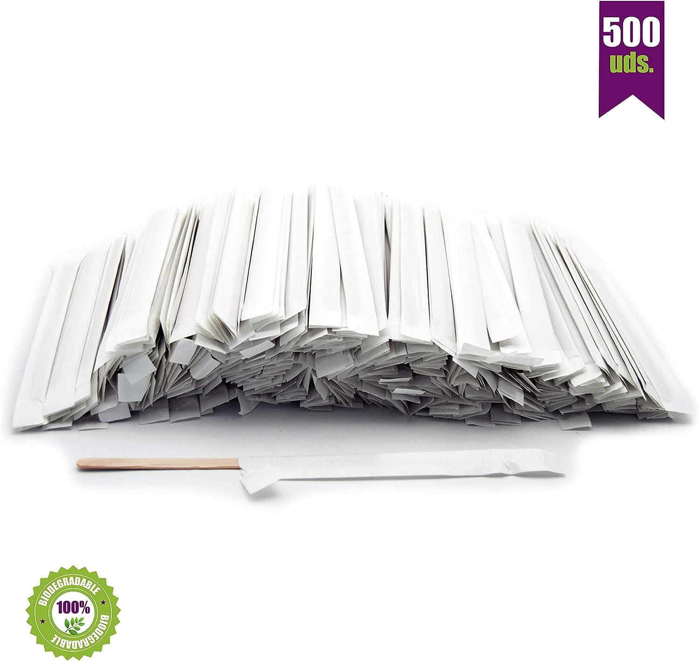 500 Paletinas de café de Madera envueltos Individualmente en Papel. Palitos de café Desechables, Palitos removedores de café biodegradables de 14 cm de Longitud