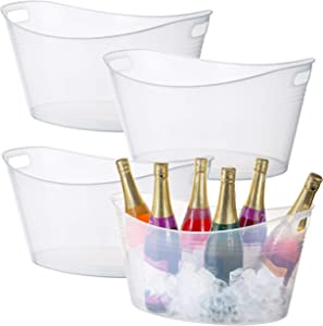 Zilpoo 4 Pack - Large Plastic Oval Storage Tub, 18 Liter Wine, Beer Bottle Drink Cooler, Parties Ice Bucket, Party Beverage Chiller Bin, Baskets, Clear