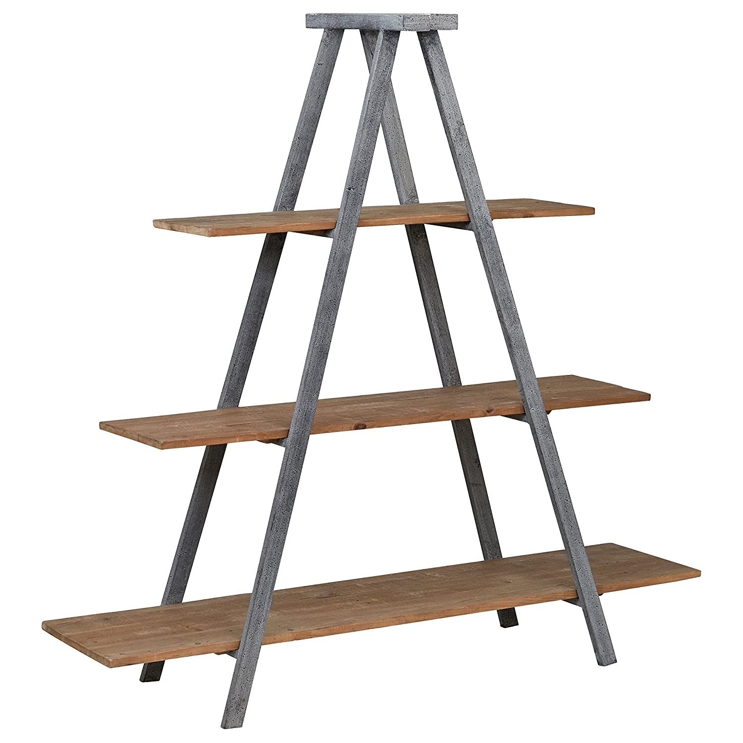 "Stone & Beam Bryson A-Frame Bookcase, 70.7""W, Wood and Iron"